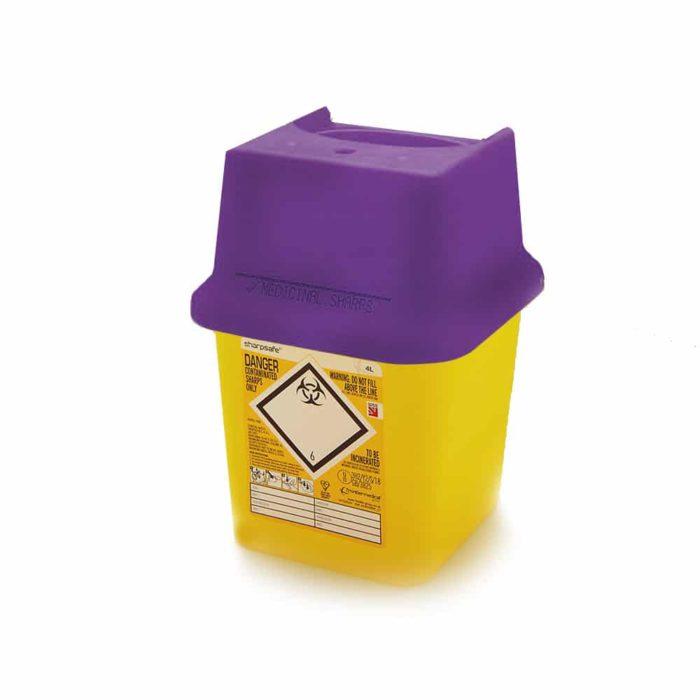 purple sharps bin