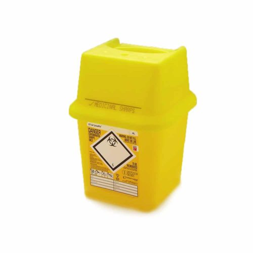 yellow sharps bin